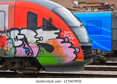 Train painted with graffiti standing on the Ljubljana train station, Slovenia