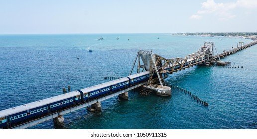 Train in Pamban Brigde in Rameshwaram, Tamilnadu, India with Sea Background