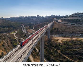 A train passes over a bridge in Jerusalem, Israel