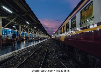 Train perspective view of a platform  Railway Station with sunset sky