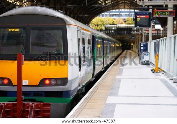 A train at a platform, Liverpool Street Station, London