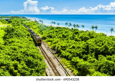 Train rail near the sea in Taitung