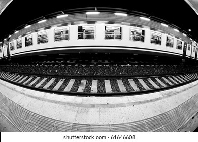 Train Railroad Car in the Station, Fish-Eye Lens