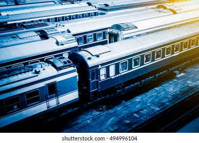 Train At Railroad Station in Beijing,China.