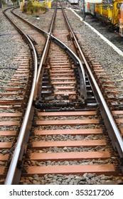Train railroad tracks near railway station in Japan