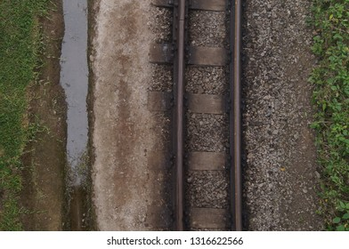train rails after the rain in spring