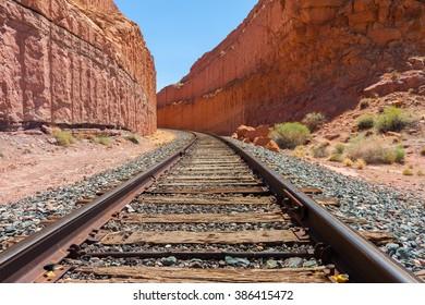 Train rails trough canyonlands close to corona arch