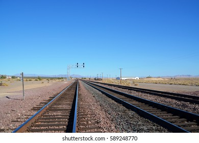 Train, railway, Joshua Tree National Park, rock formations, Mojave Desert, California, United States