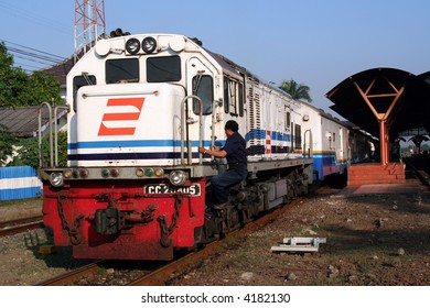 Train and railway station in Java, Indonesia
