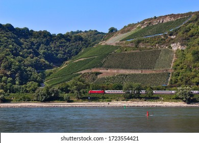 A train with a red engine running between the foot of a hill and the river Rhine, with a blue sky overhead, near Bacharach, Germany