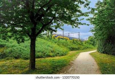 Train running through a park in amsterdam