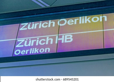 Train sign Zurich Main Station (HB / Hauptbahnhof / Oerlikon) - at airport