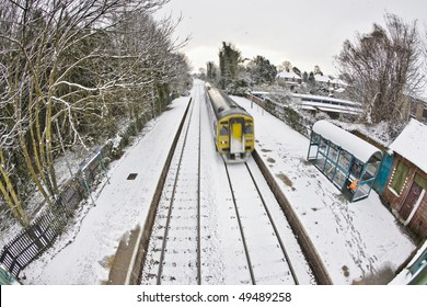Train in Snow in Cottingham East Yorkshire February