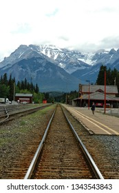 train station in Banff Alberta with unidentifiable person waiting