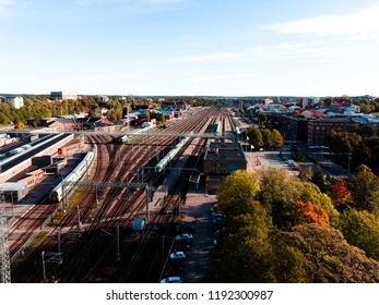 Train station at the city of Turku Finland at September.