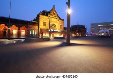 train station in Groningen at night, Netherlands