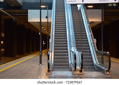Train station moving stairs.