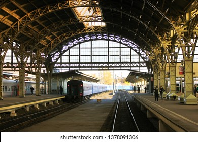 Train station platform St. Petersburg, Russia. Arched rooftop and historic architechuture of railway stop inside