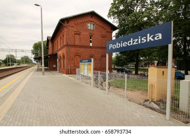 Train station in Pobiedziska, Poland
