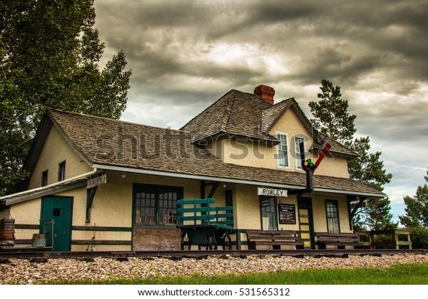 The train station in Rowley, Alberta