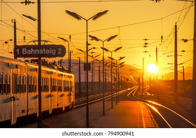 Train station at sunset, Austria, Lower Austria, Southern Lower Austria, Eggendorf