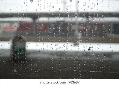 Train station through window (rainy day)