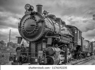 Train steam engine history black and white