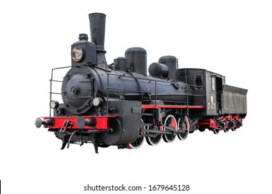 Train with steam locomotive series Ov. Isolated on  white a  background