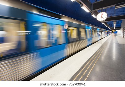 Train in Stockholm underground metro station, Sweden, Scandinavia, Europe