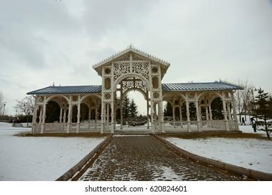 Train stop in Sazova Science, Art and Cultural Park in Eskisehir City, Turkey
