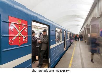 "The train stops at the ""Dostoevskaya' subway station. The door open.  Russia. Saint-Petersburg.   ""Dostoevskaya' subway station. 29/03/2016"