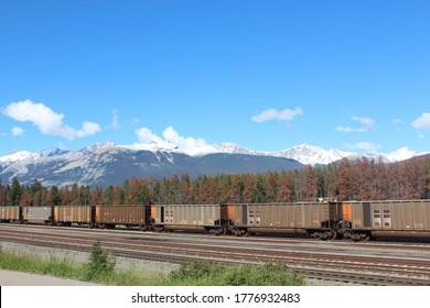 The train stops in the Rocky Mountain town of Jasper,Scenic Train Trips