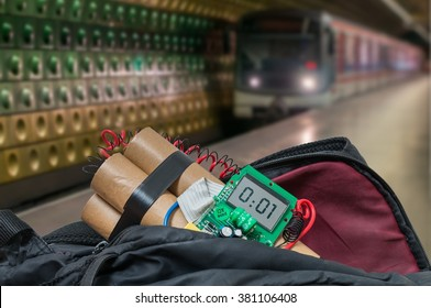Train in subway station and bomb in bag is going to detonate. Terrorism concept.