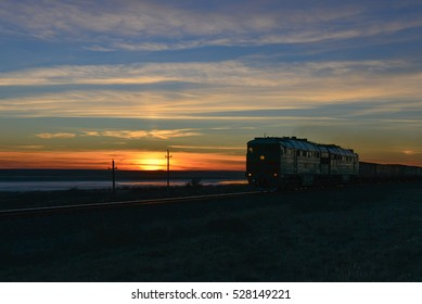 Train at sunset