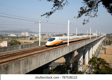 Train of Taiwan high speed rail drives on bridge.