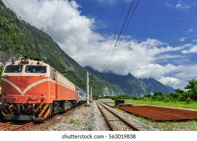 Train Took a Brief Stop at a Small Station Near Taroko National Park in Hualien, Taiwan