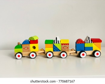 Train toy on the white background