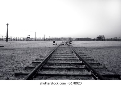 Train Track in Auschwitz / Birkenau Concentration Camp