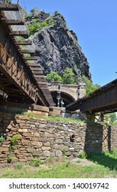 Train Track Bridge at Harpers Ferry in West Virginia, USA