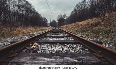 Train track in the middle of the forest, road to infinity