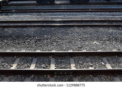 Train track or railway on the stone ground