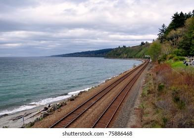 Train tracks along the coastline receding into the distance