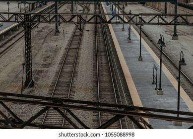 Train Tracks in a Busy City
