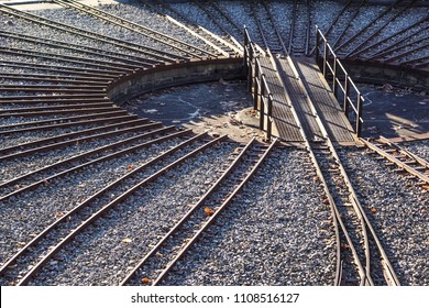 train tracks in a circle for maintenance. railway junction .
