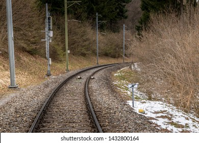 Train tracks close to the top of Uetliberg in Zürich, Switzerland.