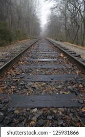 Train tracks leading into misty woods