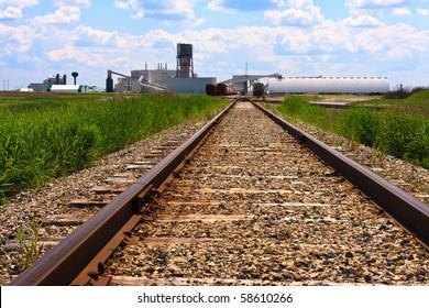 Train tracks leading to a potash mine in central Canada.