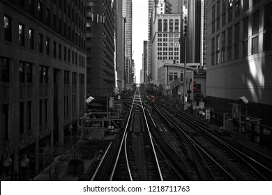 Train tracks in the loop area of Chicago.