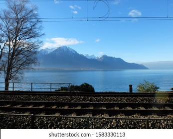 train tracks on the lakeside geneva