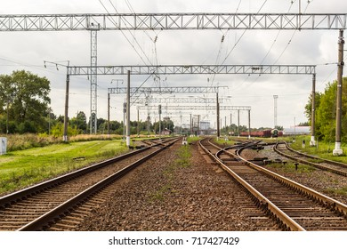 Train tracks, in rural environment